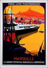 1920s Marseille Paris France Ocean Liner Art Travel Advertisement Poster Print