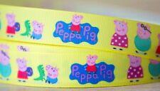 1M X 22mm Grosgrain Ribbon Craft DIY Cake Decoration Hair Bow Peppa Pig In Corn
