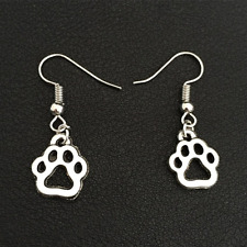 Trendy Vintage Silver Animal Dogs Paw Bear Claw Footprint Drop Earring 3 pair