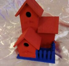 New listing Wood Red Blue Birdhouse