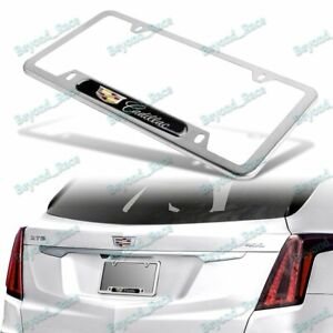 1PCS For CADILLAC NEW Black Silver Metal Stainless Steel License Plate Frame