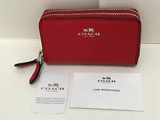 NEW! COACH CROSSGRAIN LEATHER SMALL DOUBLE ZIP COIN CASE WALLET $95 BRIGHT RED