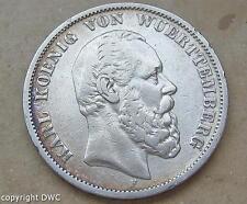 Coin Münze 5 Mark König vom Württemberg 1876 F Kaiserreich J 173 Nr.10581