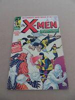 X- men  1 . Origin 1st App. X-Men - Kirby / Lee - Marvel 1963  - VG - minus 3.5