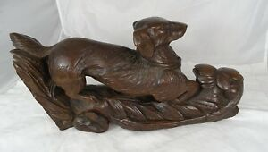 French Antique Large Carved Oak Wood Hunt Theme Sculpture Dog Black Forest