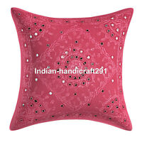 Indian Embroidered Cotton Cushion Cover Handmade Cotton Throw Pillow Case Cover