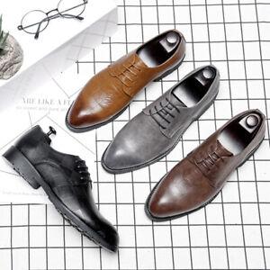 Men's Dress Formal Shoes Leather Suit Lace up Brogue Wedding Business Oxfords