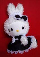 SANRIO HELLO KITTY DRESS AS BUNNY RABBIT WHITE BLACK PLUSH STUFFED DOLL SOFT TOY