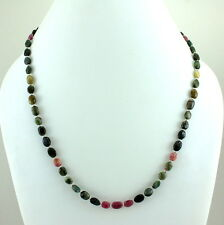 925 STERLING SILVER NATURAL TOURMALINE GEMSTONE BEADED NECKLACE 17.5 GRAMS