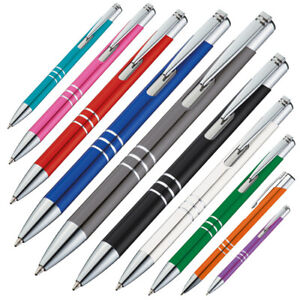 10 Kugelschreiber aus Metall / 10 verschiedene Farben