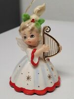Vintage Christmas Angel Josef Originals Girl Bell Harp Ballerina Legs As Clapper
