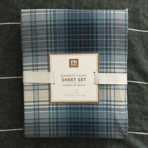 Pottery Barn Teen Barrett Plaid sheet set Full Blue Multi