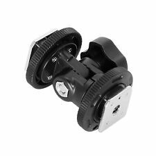 Dual Hot Shoe Mount Adapter Holder Bracket For Video Light Stand Camera
