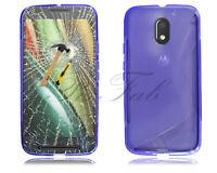 For Motorola Moto E3 XT1706 New Black Gel Silicone Phone Case + Tempered Glass