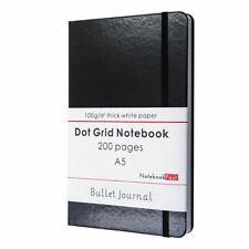 Black Bullet Journal Notebook, A5 Dot Grid Notebook Leather Cover Bujo 200 Pages