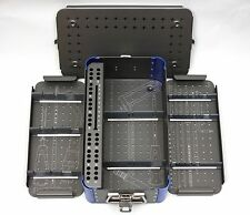 Empty Small Cannulated 7.3mm Screw Rack Instrument Case, 2 Removable Trays