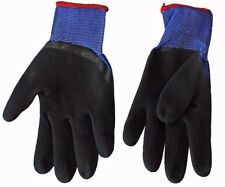1 Pair x Size 9/L Rubber Palm Work Gloves Building Gardening Construction Blue