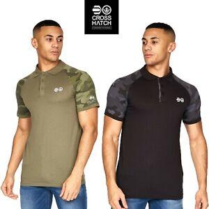 Men's Crosshatch Polo T-Shirt Camo Short Sleeve Casual Collared Cotton Pique Top