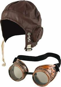 Adult Classic Flying WWII Pilot Biggles Hat Party Helmet Glasses World War