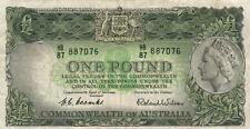 AUSTRALIA 1 POUND BANKNOTE COOMBS WILSON CIRC VERY CREASED MARKS NO TEARS/HOLES