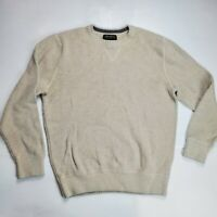 Eddie Bauer Men's Large Thick Knit Sweater Light Beige Crew Neck 100% Cotton