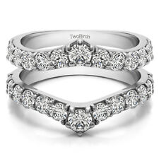 Sterling Silver Delicate Graduated Contour Ring Guard(0.74tw)