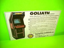 Unigame GOLIATH Cabinets Original NOS Video Arcade Game Flyer Electrocoin UK