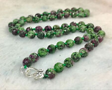 """Natural 6mm Faceted Green Ruby Handmade Gemstone necklace 18""""925 Silver clasps"""