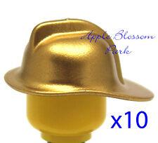 LEGO Lot/10 Fire Fighter Minifig Metallic GOLD HELMET Minifigure Fire Man Hat