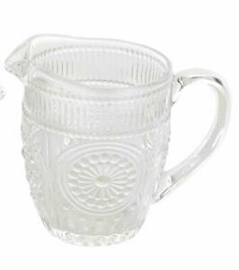 3-The Pioneer Woman Adeline Glass Creamer Clear Pitcher Embossed 11.01 Ounce