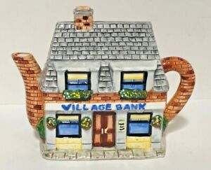 The Village Teapot Collectibles VILLAGE BANK by Annie Rowe - Rare