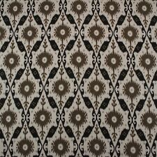 """CLARENCE HOUSE CHENNAI IKAT ESPRESSO BROWN BLACK 100% LINEN FABRIC BY YARD 54""""W"""