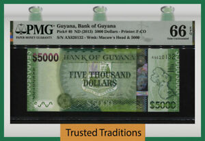 TT PK 40 2011 GUYANA BANK OF GUYANA 5000 DOLLARS PMG 66 EPQ GEM UNCIRCULATED