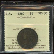 1862 Nova Scotia One Cent - ICCS VF-30 - Key Penny! Cert#XNP 541
