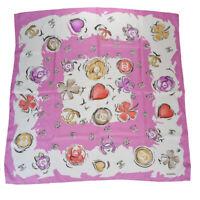 Authentic CHANEL CC Logos XL Scarf Handkerchief 100% Silk Pink Accessory 65MB409