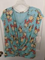NWT WOMENS PLUS SIZE BOBBIE BROOKS BLUE FLORAL TOP w/NECKLACE Sz 2X