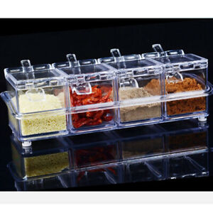Crystal Clear Seasoning Box Acrylic Spice Rack Storage Container Condiment Jars