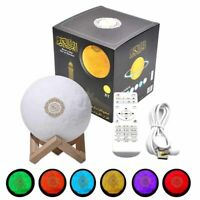 3D Variable Color Moon Bluetooth Speaker Quran Coran Player Touch Lamp 7 Colors