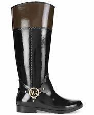 Michael Kors FULTON HARNESS LOGO GOLD RAINBOOTS SIZE 8 M DEMO NWOB