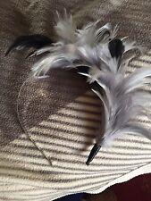 Grey & Black Feather Hair Fascinator Head Band Type