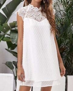 Sommer Kleid Hängerchen Tunika Häkel Spitze unterlegt  38 40 42 Weiß R475 NEU