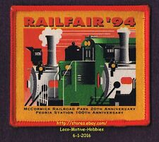 LMH PATCH Badge  '94 RAILFAIR  McCormick Railroad Park Museum Peoria Station AZ