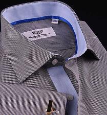 Dark Gray Mens Formal Business Dress Shirt Mini Check Designer Light Blue Oxford
