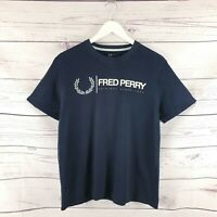 Mens Fred Perry Navy Blue Short Sleeve T Shirt Size Large