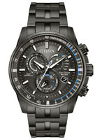 Citizen Eco-Drive Men's PCAT Charcoal Gray Blue Accents 43mm Watch AT4127-52H