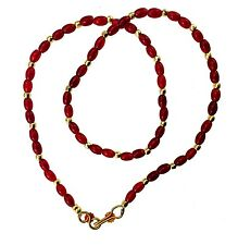Red/Green/Blue & Gold Crystal Bead Necklace Plastic Chain Jewellery Beaded Chain