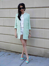 RARE ZARA BLAZER COAT MINT JACQUARD JACKET LIGHT GREEN POCKETS LARGE - L