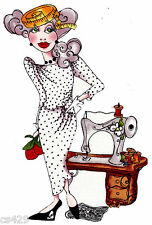 "7""  Loralie sew fabulous lady sewing machine fabric applique iron on character"
