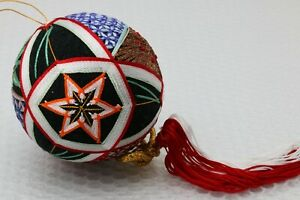 Japanese Temari Ball Blue and white interlocking triangle and square over Red
