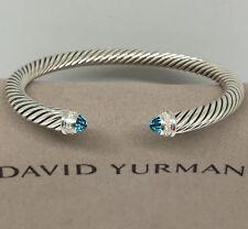 David Yurman Sterling Silver 925 5mm Cable Blue Topaz Diamond Cuff Bracelet